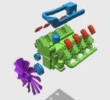 R.A Products Scania V8 Motor 1/14 Dummy Tamiya